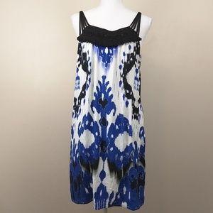 ECI Ikat Print Macrame Straps Shift dress sz 8